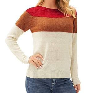 Tops - Women's Long Sleeve Color Block Knit Pullover Top
